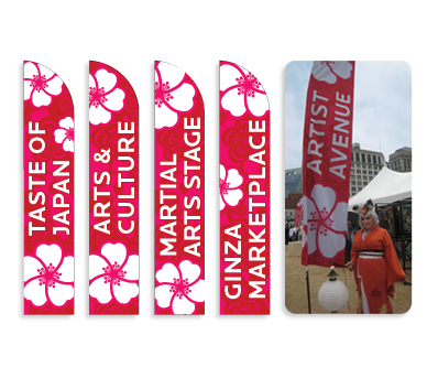 Once attendees arrive at the Nashville Cherry Blossom Festival, the locations of all the sections of the event are marked with flag banners which are easily visible above the crowd.