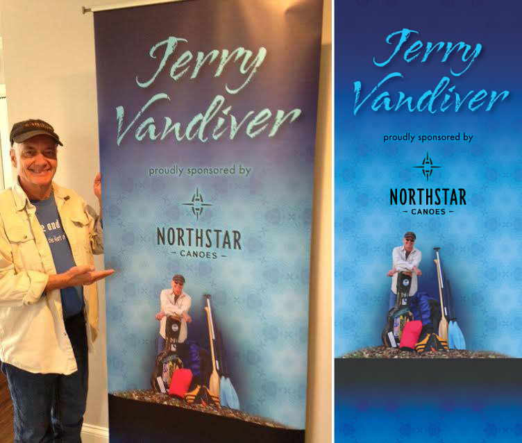 My musician friend, Jerry Vandiver, needed a sign for festivals and shows where he performs so that, while he plays his paddle songs, viewers can get basic information about who he is and who sponsors him: Northstar Canoes in this case.