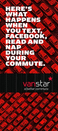 The cover of a direct mail brochure also targeted for workers who commute long distances.
