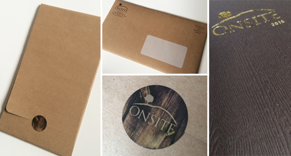 LEFT: Outer wrap for brochure; TOP MIDDLE: Mail panel of outer brochure wrap; BOTTOM MIDDLE: Decorative sticker; RIGHT: Embossed paper and foil stamp