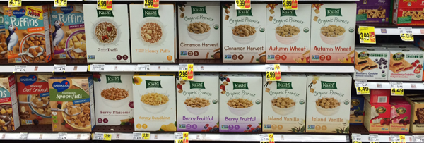 The cereal aisle at the grocery store can be so overwhelming. I love how Kashi's packaging stands out amidst all the busy-ness.