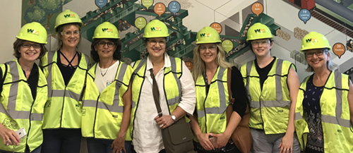 The fantastic design group that I've belonged to for several years frequently dons hard hats and safety glasses in order to learn more about our local industries' practices. Here we learned about the recycling process here in Nashville.
