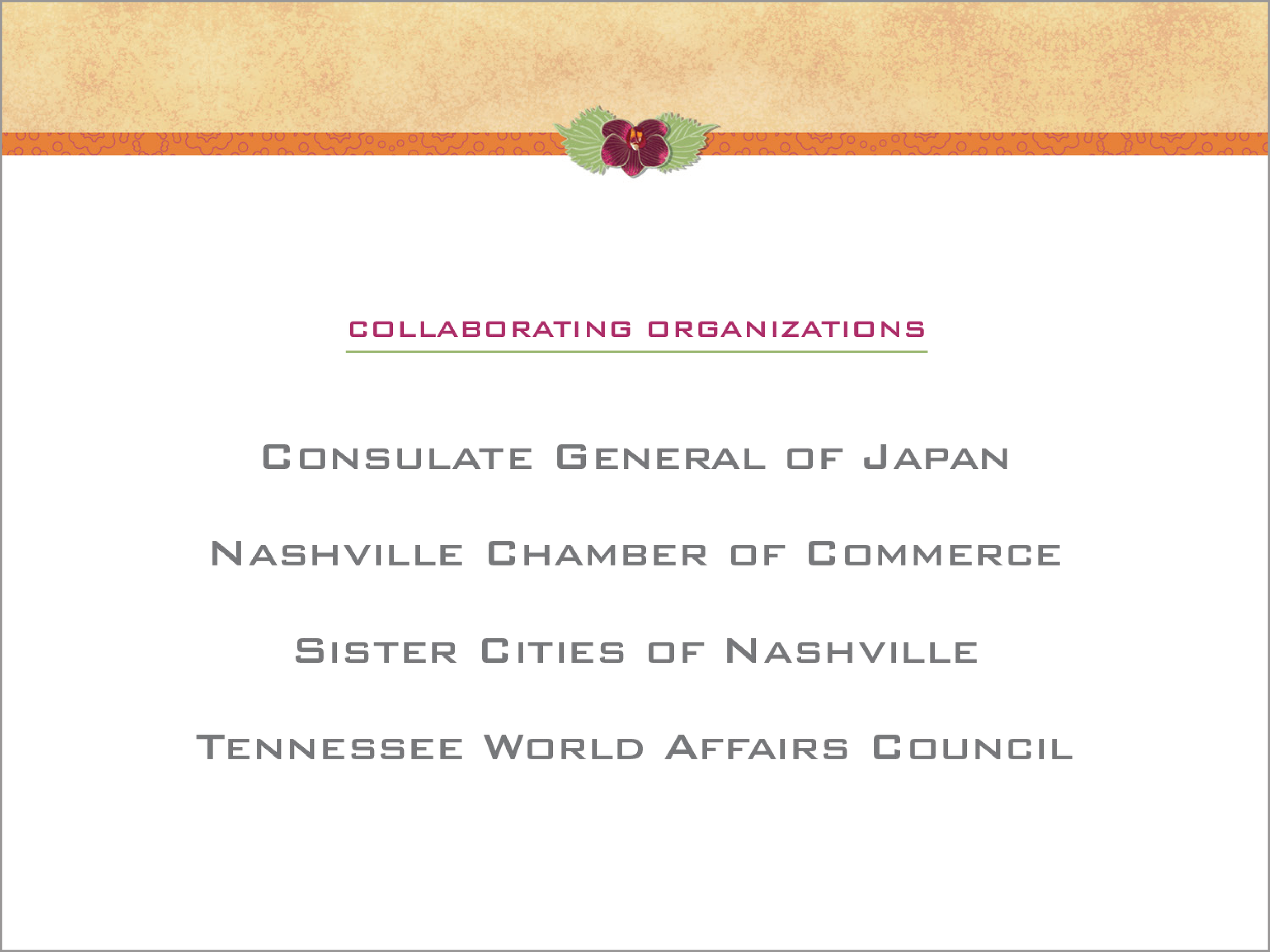 Power Point presentation page for Japan-America Society of Tennessee's 4th Annual Women's Leadership Forum and Networking Luncheon.