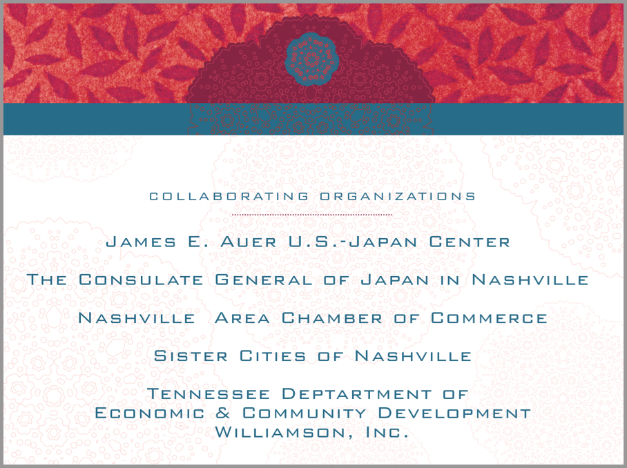 Power Point page for Japan-America Society of Tennessee's 2015 Women's Leadership Forum & Networking Luncheon.
