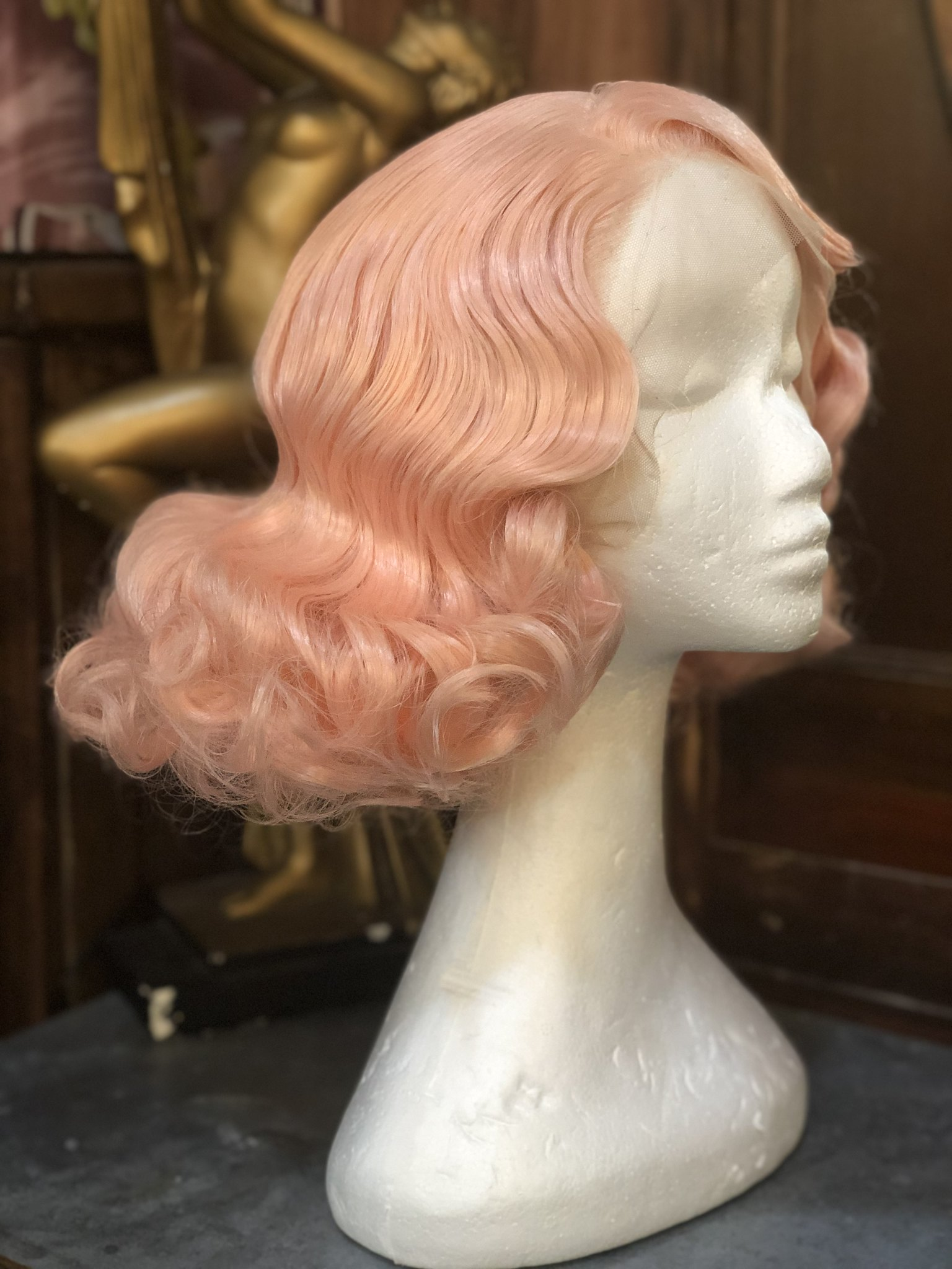 Pink stock wig