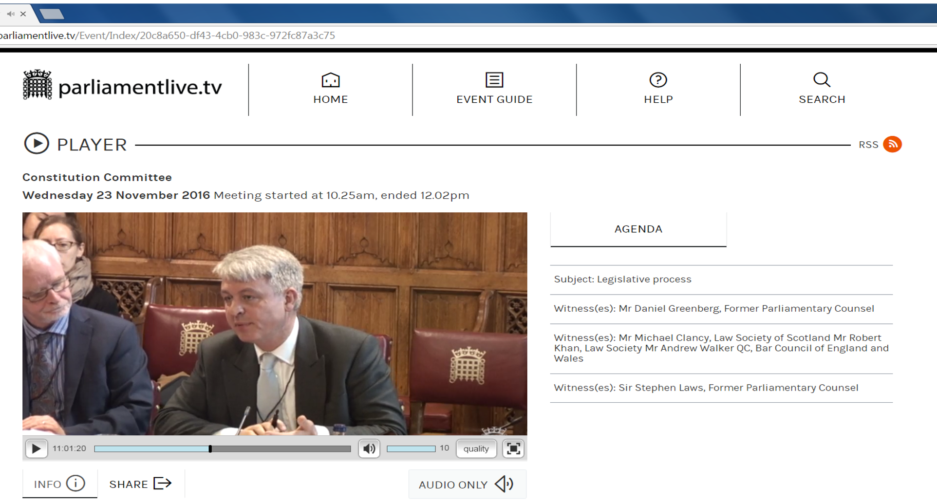 Vice Chair Andrew Walker QC gives evidence to the House of Lords Constitution inquiry on the legislative process