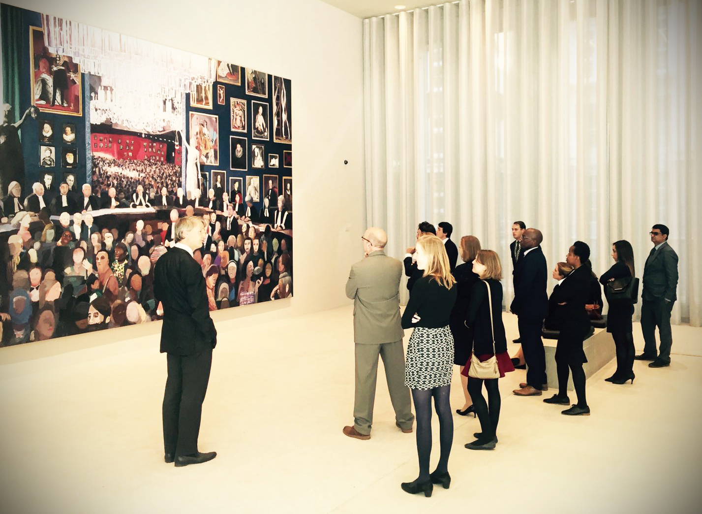 Delegates on the Anglo Dutch Exchange admire artwork at the Hague