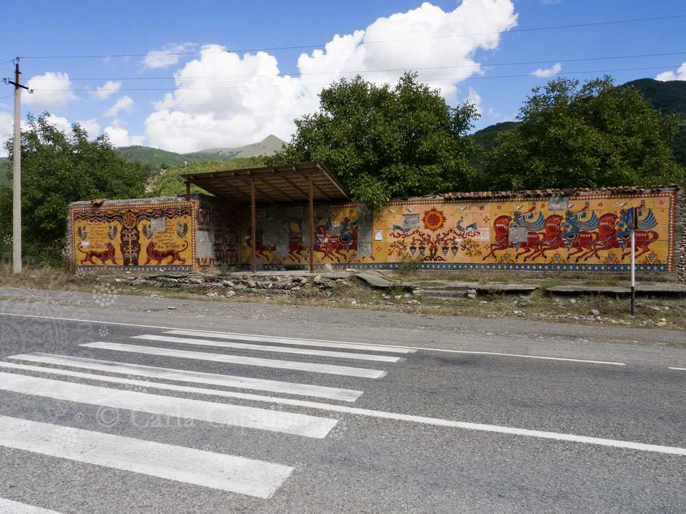 A bus stop on the Georgian Military Highway
