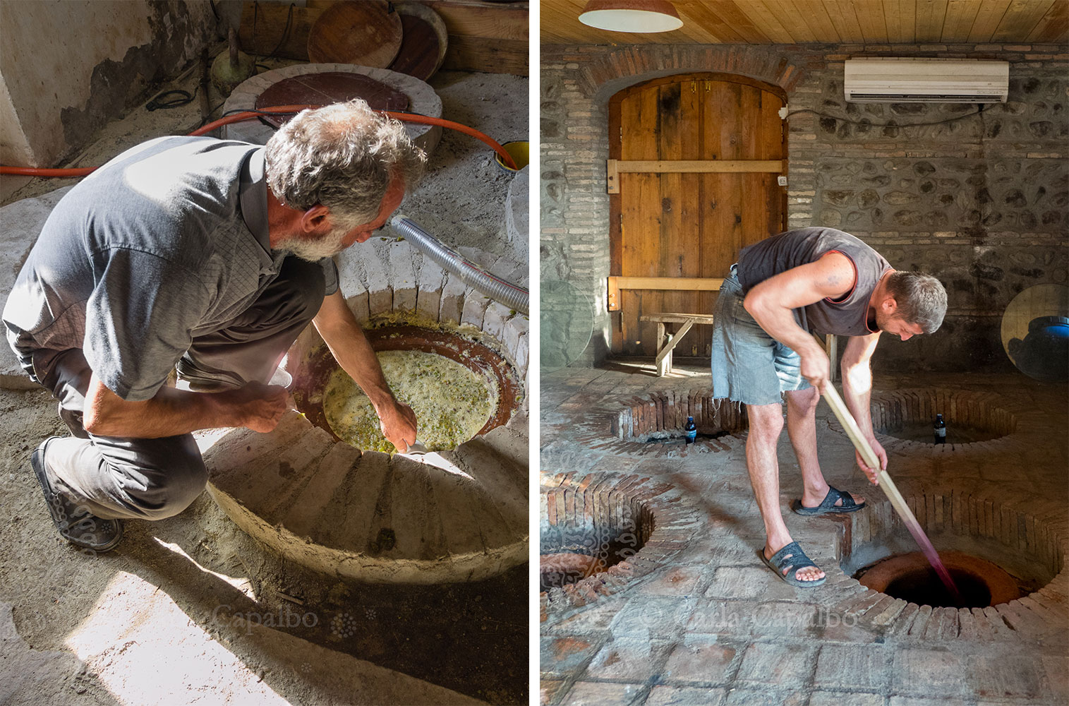 Amiran Vepkhvadze checks on his pressed grapes  ·  Punching down the cap at Pheasant's Tears