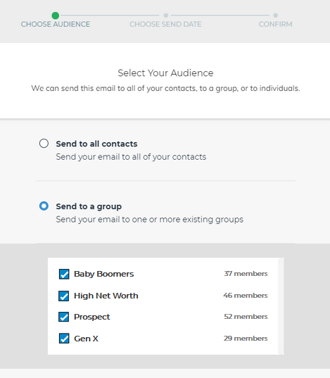 Step 3 - Start marketing! Create e-mails in FMG Suite as you normally would.When you're ready to send an e-mail, choose your SmartOffice contacts or groups on the Select Your Audience screen.