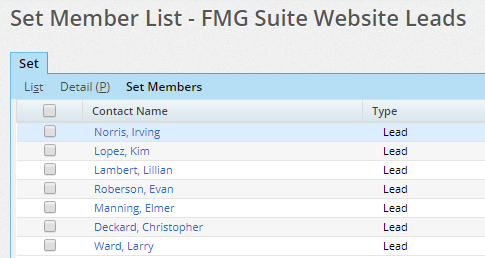 Step 1 - Leads submitted through your FMG Suite website appear automatically in SmartOffice as a set.