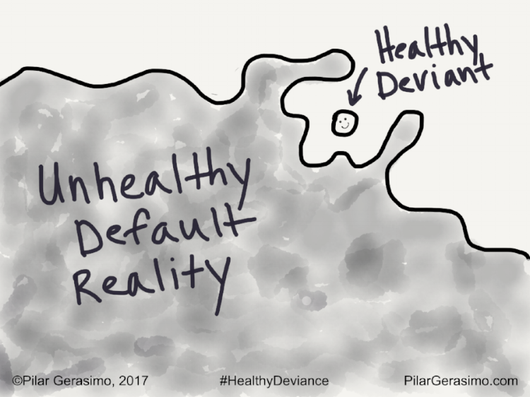 The parasitic, miasmic, co-opting force of the Unhealthy Default Reality surrounds, but cannot subsume, the renegade, resilient, non-conforming Healthy Deviant.