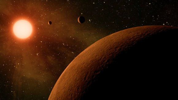 This artist's concept depicts a three-planet system. Image credit: NASA / JPL-Caltech.