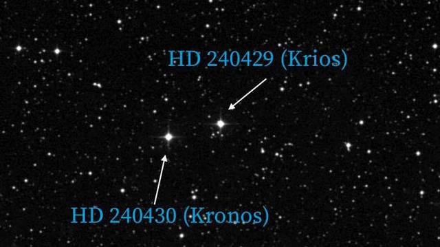 Stars HD 240430 and HD 240429, better known as Kronos and Krios, as they appear in the Space Telescope Science Institute's  Digitized Sky Survey . Though these binary stars formed together, their chemical abundances are very different, leading researchers to conclude that Kronos had absorbed 15 Earth masses worth of rocky planets.Image courtesy of the researchers