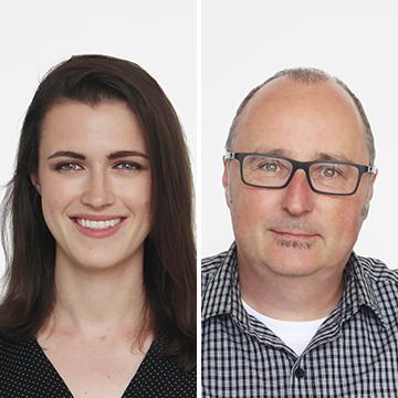 Left: Kelsey Laser. Right: Stewart Marshall
