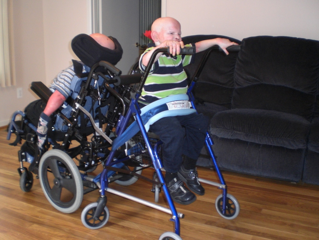 Now mom can push her two sons to the store. She would need an aide to shop without this custom stroller. Her children have a rare condition and cannot walk far.