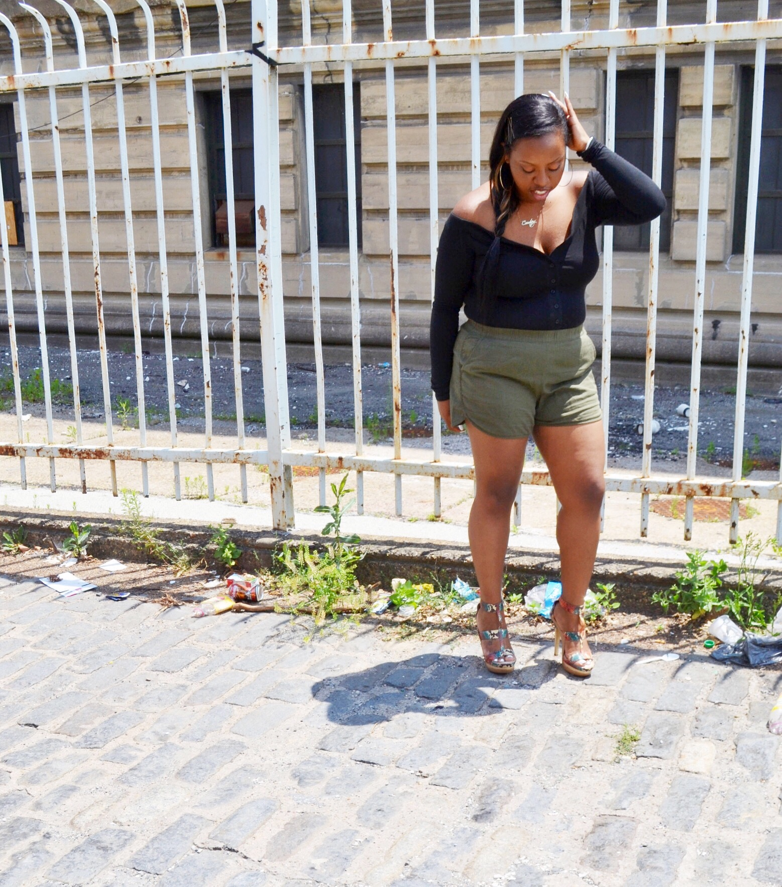 (Bodysuit - The Line by K, Shorts - Madewell, Shoes - BCBG Max Azria)