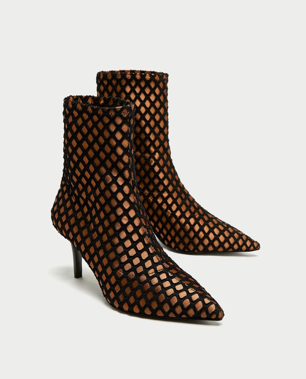 Zara High Heel Mesh Ankle Bootie