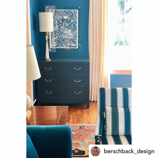 So honored to have two Otomi watercolors installed in this oh-so-gorgeous @berschback_design room 💙 @katherinemillerart + @berschback_design = 👀💙👀