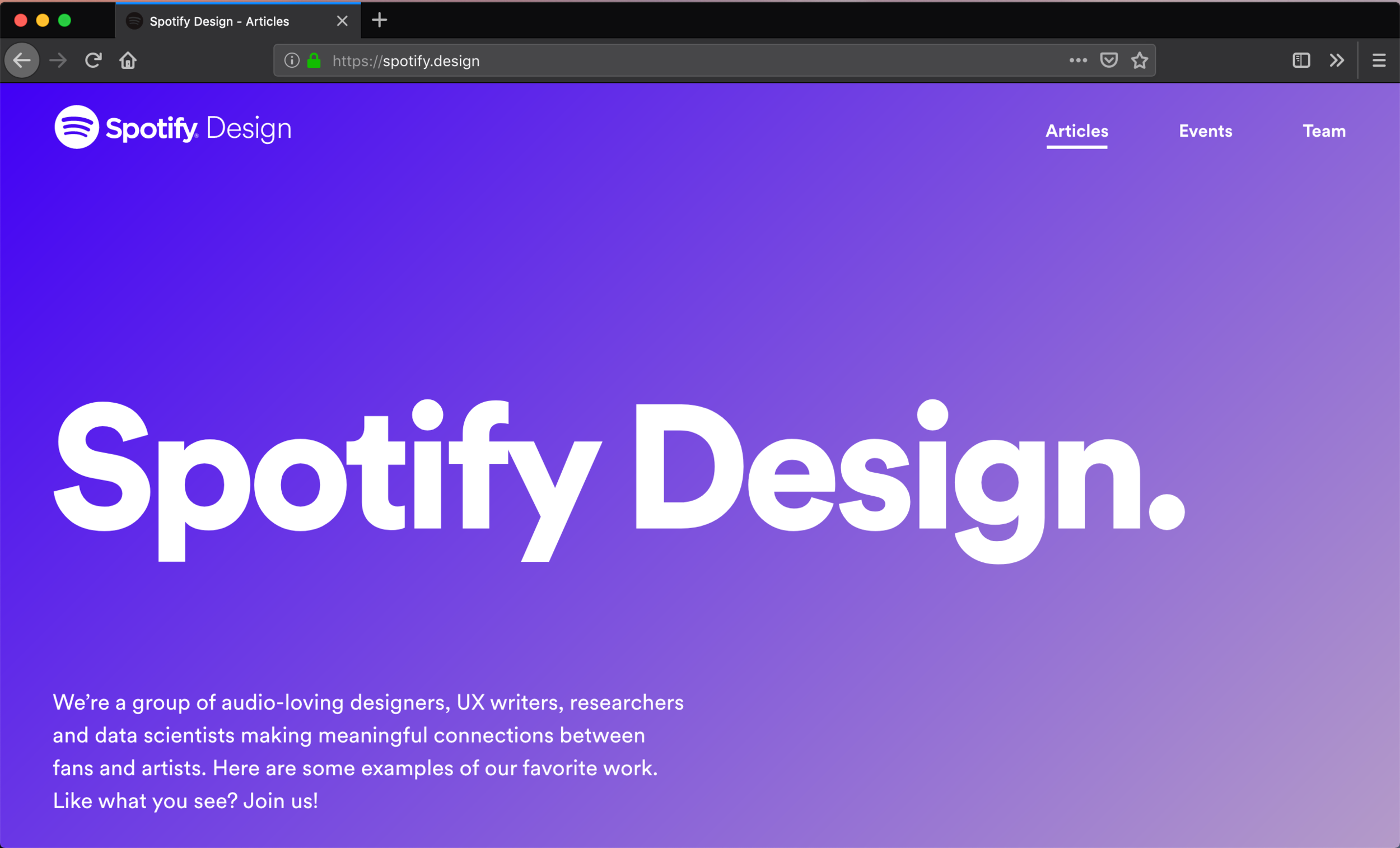 The new homepage to spotify.design