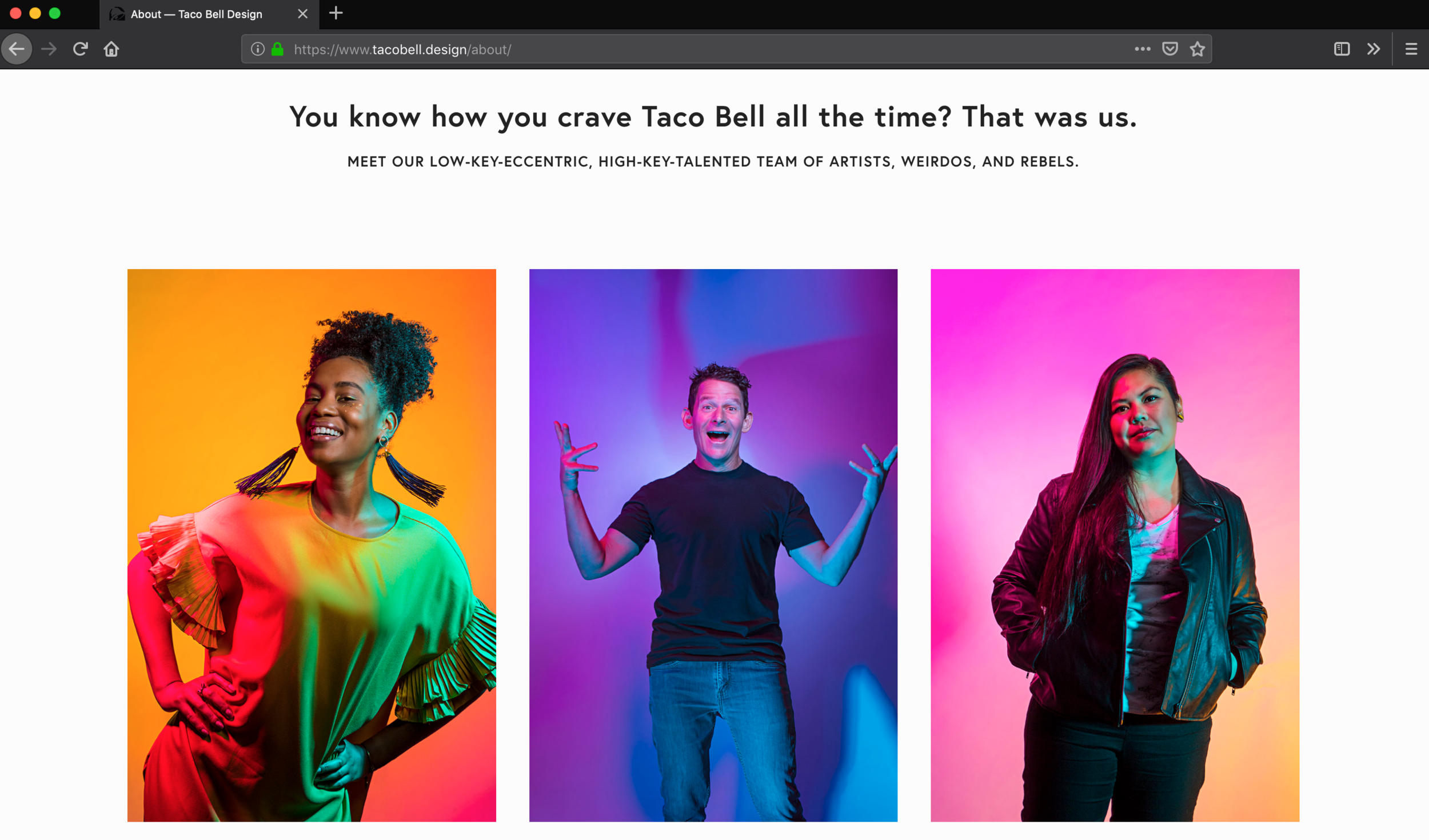 "The ""about"" page on the fabulously bright new tacobell.design site"
