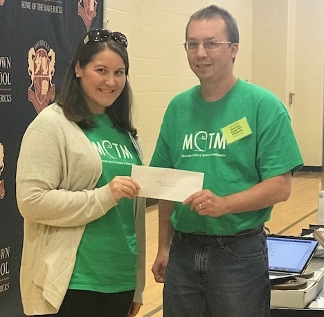"""Rebecca Hurst, mathematics teacher from Madison County School District's Olde Towne Middle School, was awarded the 2017 Classroom Grant to implement her project """"Algebra Tiles for All.""""  Pictured: Rebecca Hurst (Left) and Brad Johns (Right)"""