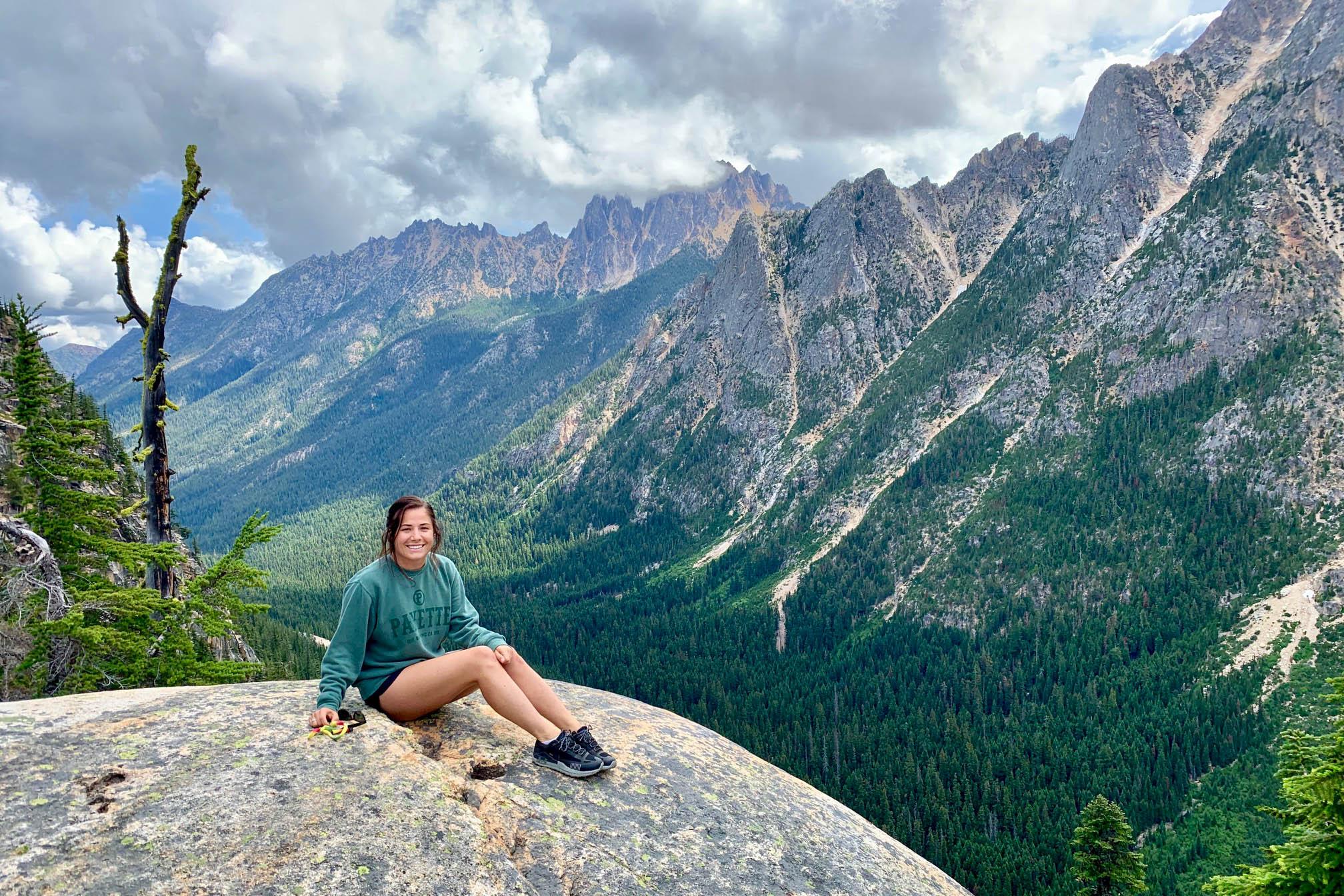 Steph Pyles giving us mild vertigo atop Washington Pass, North Cascades, WA.