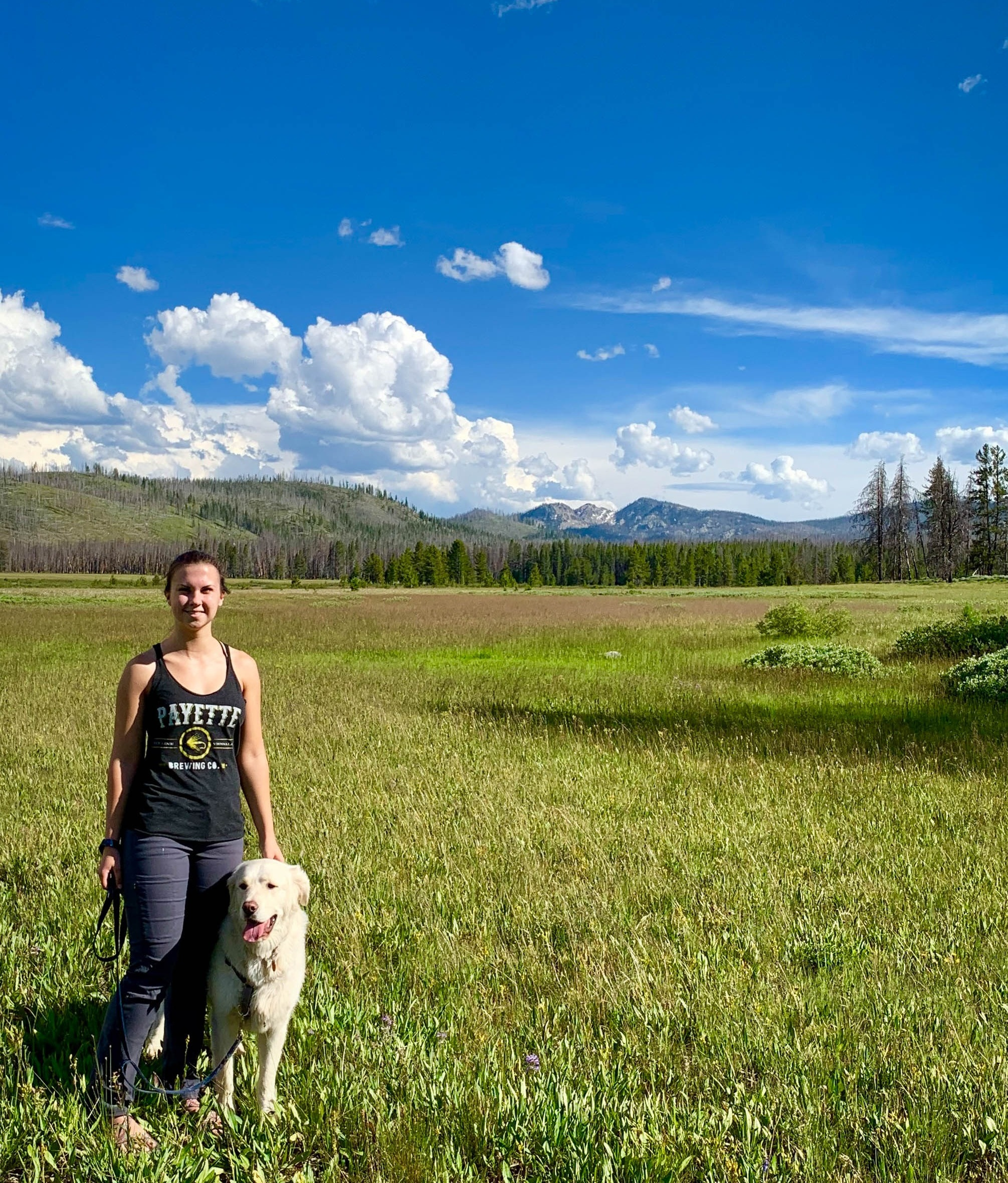 Cassidy, Head of QC at Payette, and her good boy Bert near Bear Valley, ID