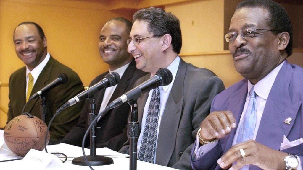 From left to right: Former NFL players Kellen Winslow Sr. and Warren Moon along with lawyers Cyrus Mehri and Johnnie L. Cochran Jr., who worked together to establish the NFL's Rooney Rule.   Los Angeles Sentinel