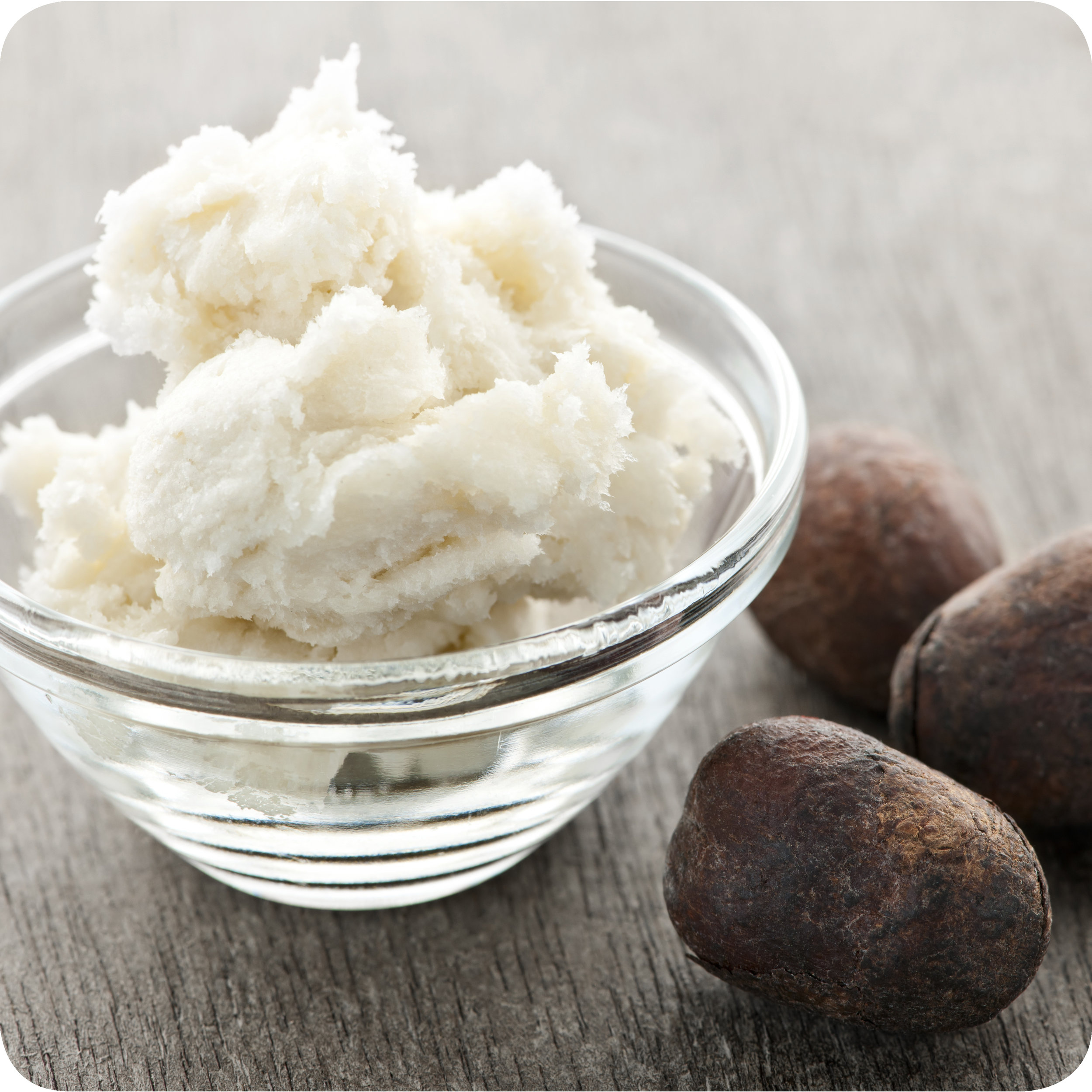 Shea butter and dried shea nuts.