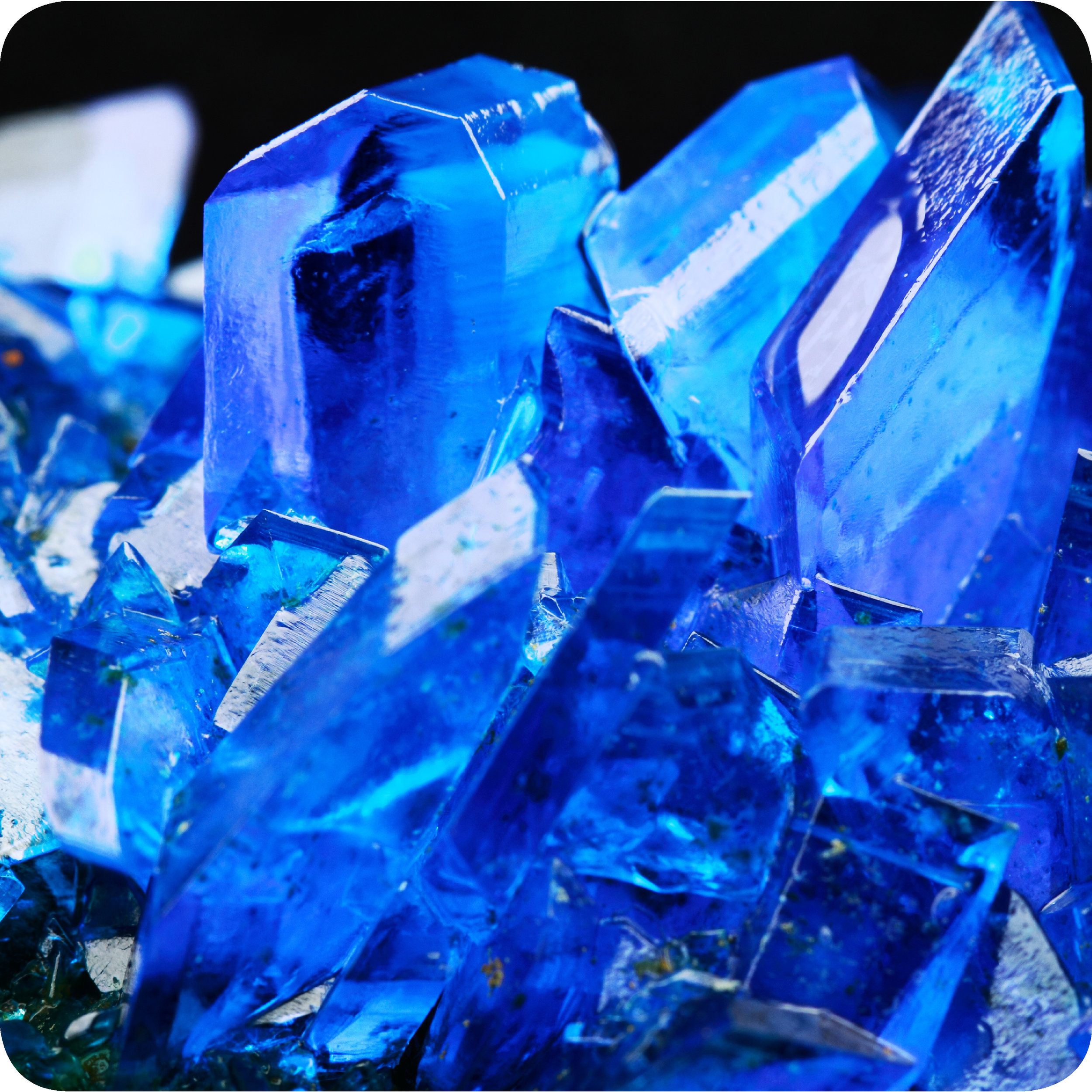 Salt of sulfuric acid (sulfate) crystals.