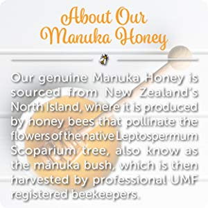 Honey has known health benefits for skin. Out of the 300+ types of honey, Manuka is widely accepted as being the most potent and health boosting because of its higher methylglyoxal (MG) concentration.