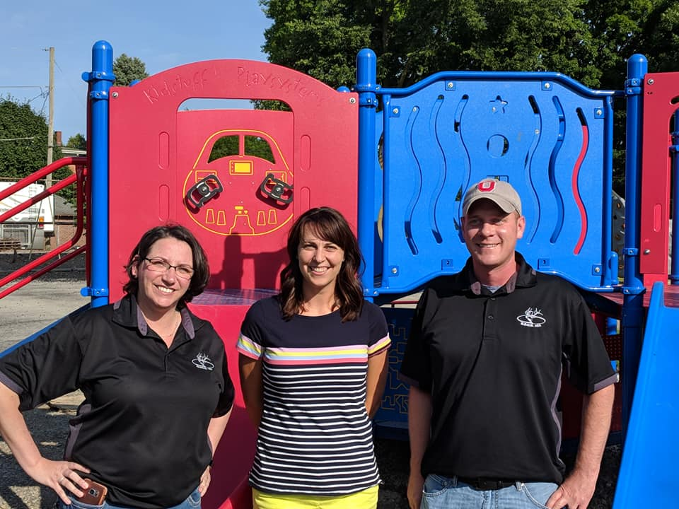 Pictured from left to right are Exalted Ruler Stefeni Wessler, Playground fundraising chairperson Julie Lemire, and Lecturing Knight Dan Wessler.