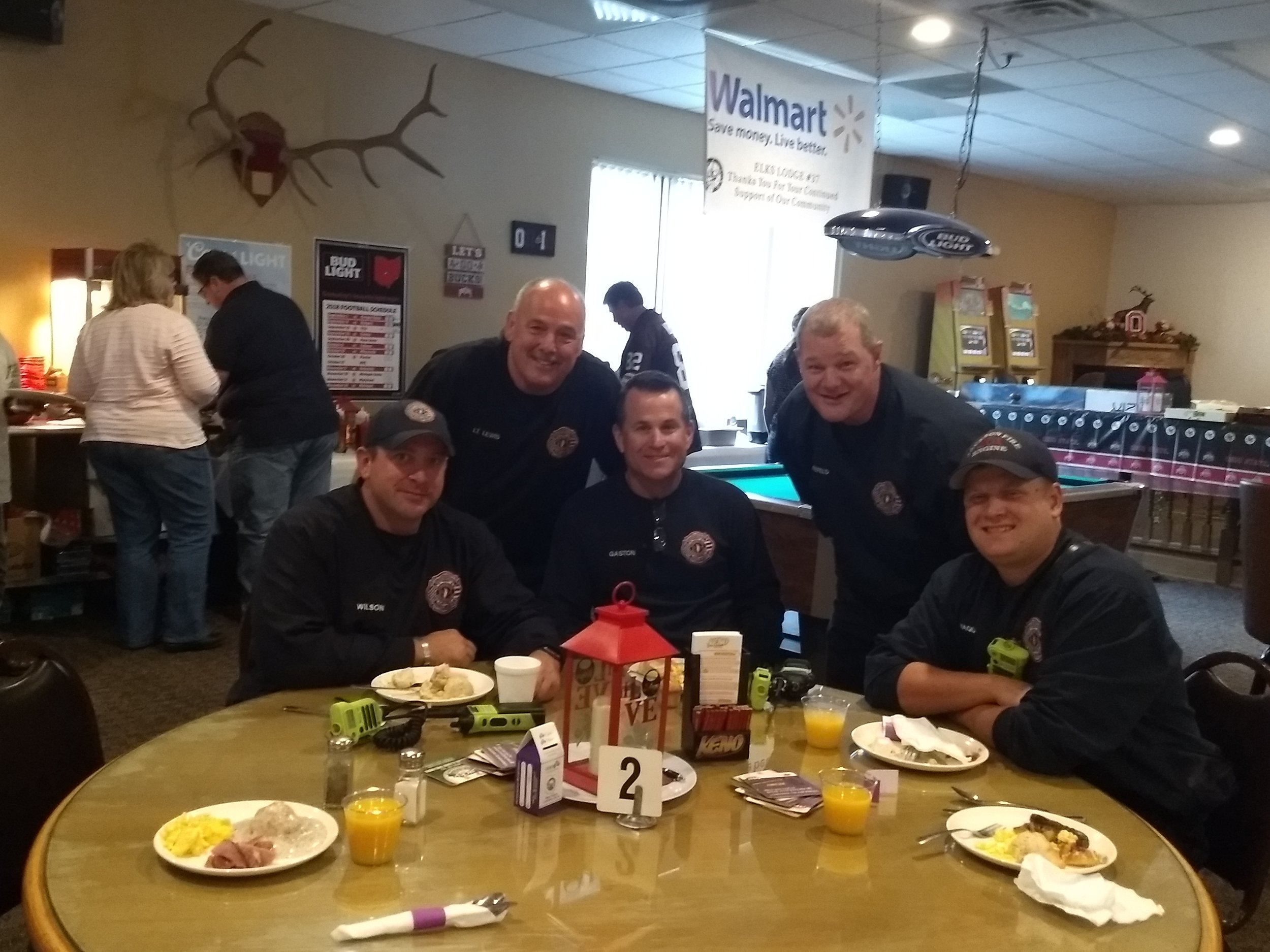 Local firemen attended the brunch