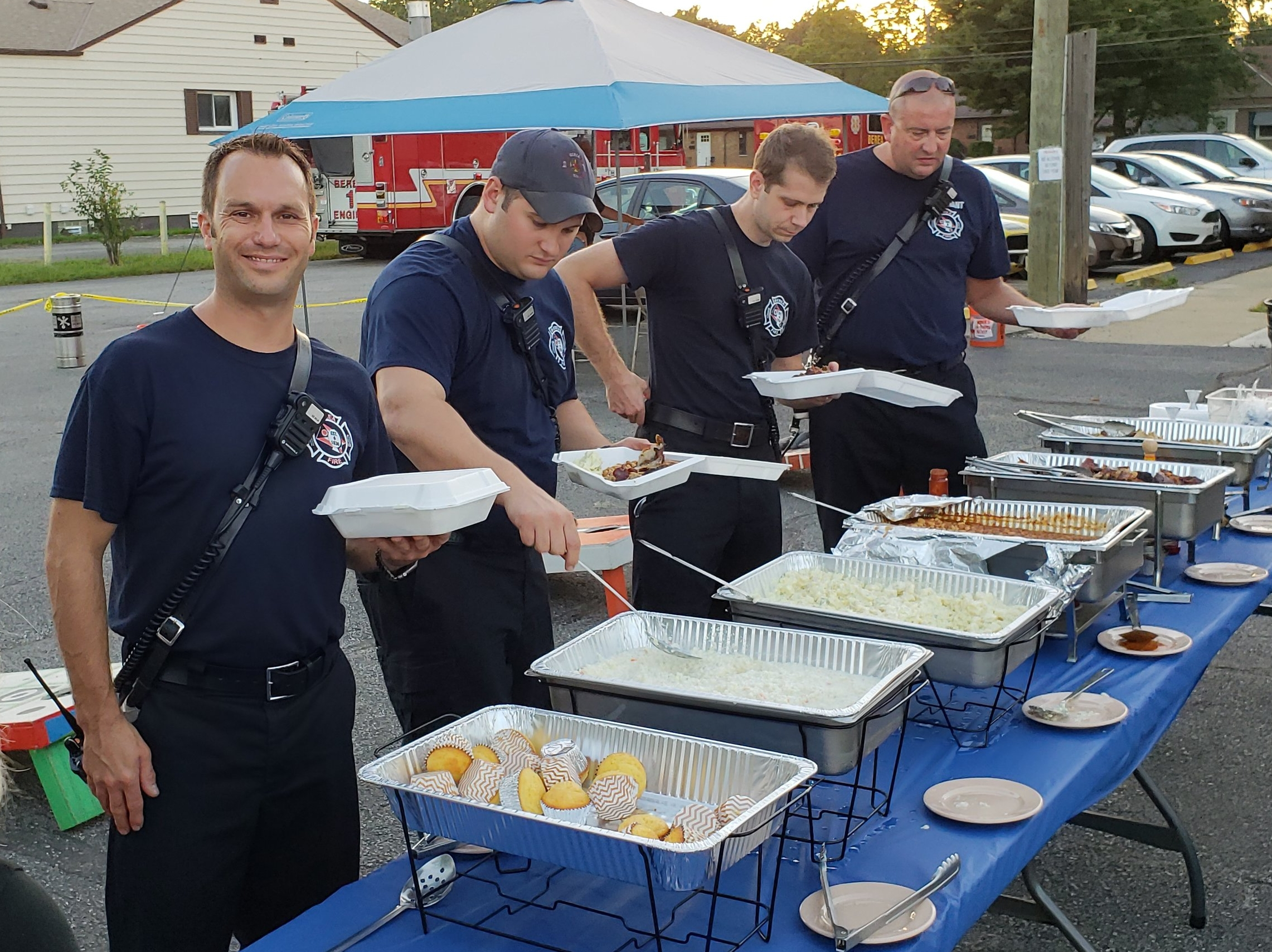 Berea Fire Department stopped by to enjoy dinner.
