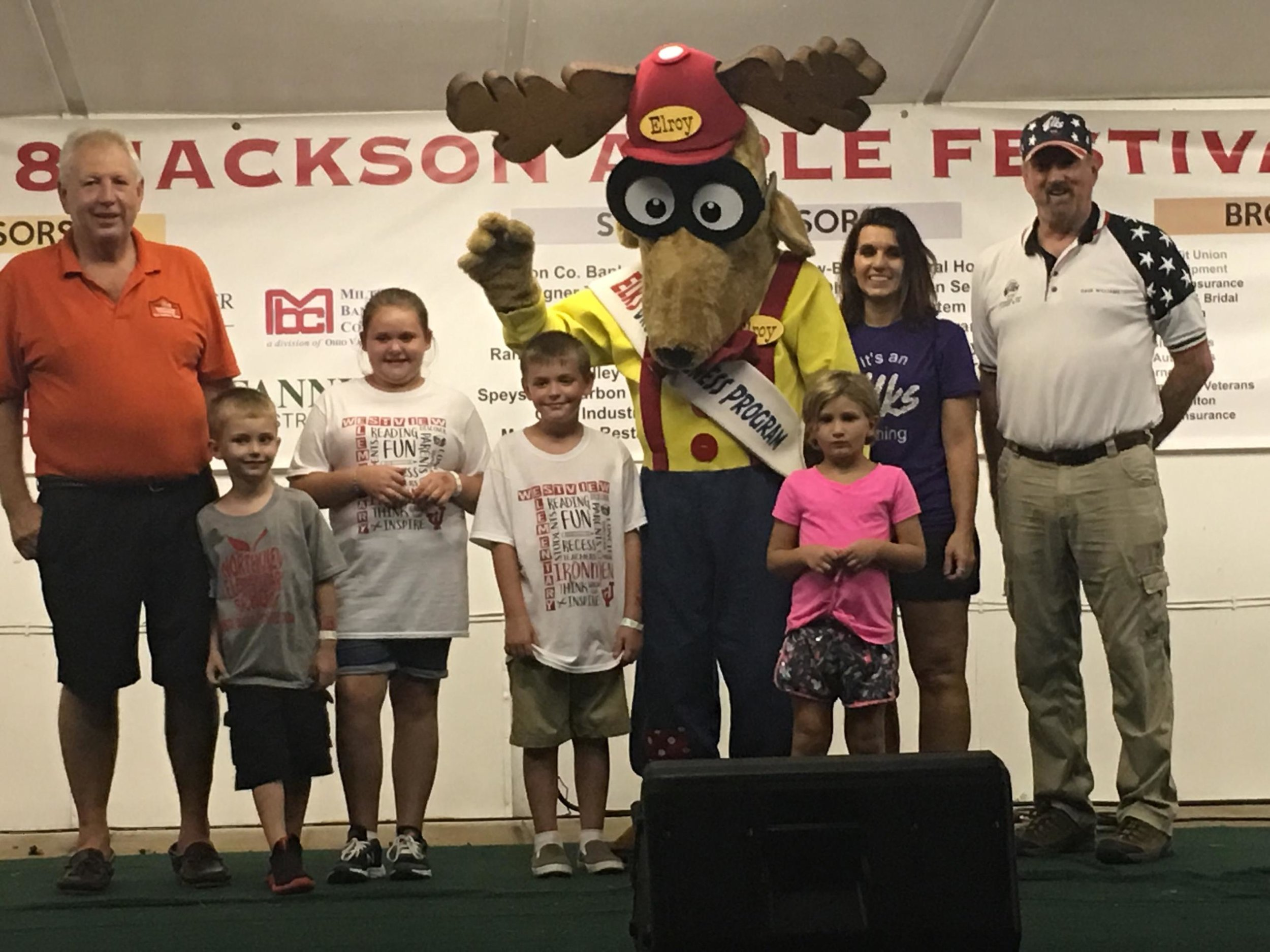 Group picture with Elroy are Keith Denny-State Elks Officer, Elroy (Dallas Lloyd, Leading Knight), Dorothy Riepenhoff-Elks member and orgainizer, Dave Williams-SC District Drug Awareness Chairman, and some area kids that just had to have a picture with Elroy the Elk