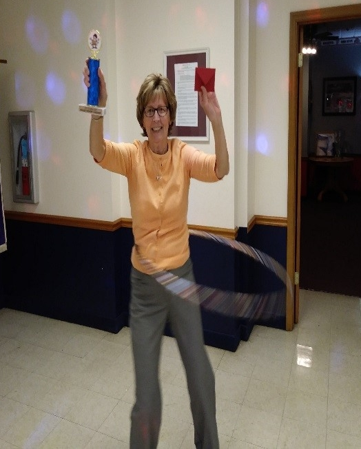 Mary Ellen Miscovich won the hula hoop contest (she brought her own hula hoop!).