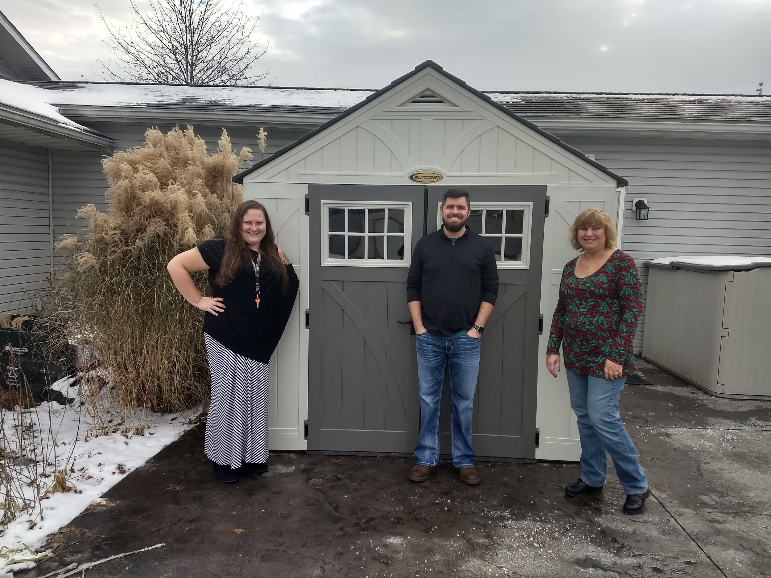From left: Tiffany Hawley, program coordinator, Cody Sparks, freedom house rep., and Lisa Wadlow, ENF grants coordinator.