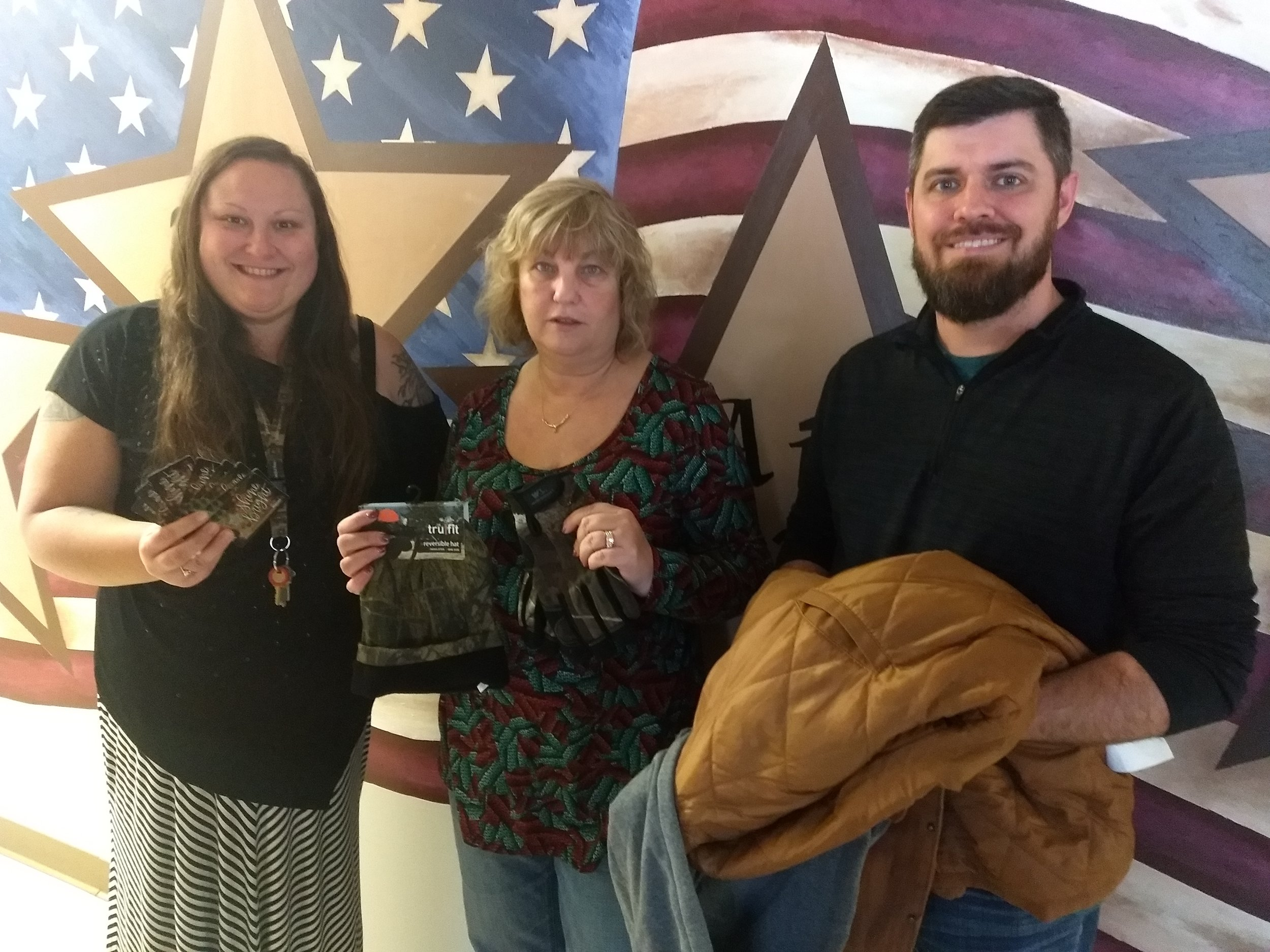 From left to right Cody Sparks, Senior Support Worker Lisa Wadlow, ENF grants coordinator, Tiffany Hawley, program coordinator with Freedom House.
