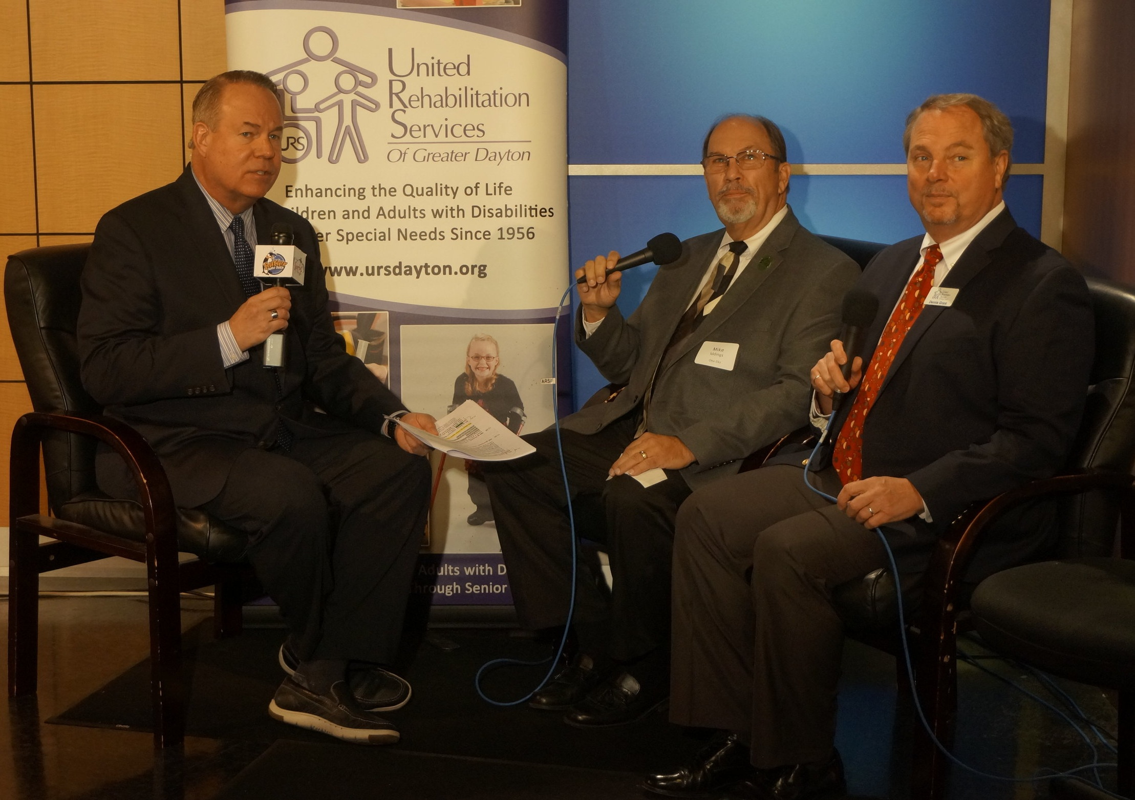 From left, Mark Allen, WDTN and Host of the Telethon; Mike Iddings, Lodge CP Chairman (representing both the Ohio Elks and the Dayton Elks) and Dennis Grant, URS Executive Director.