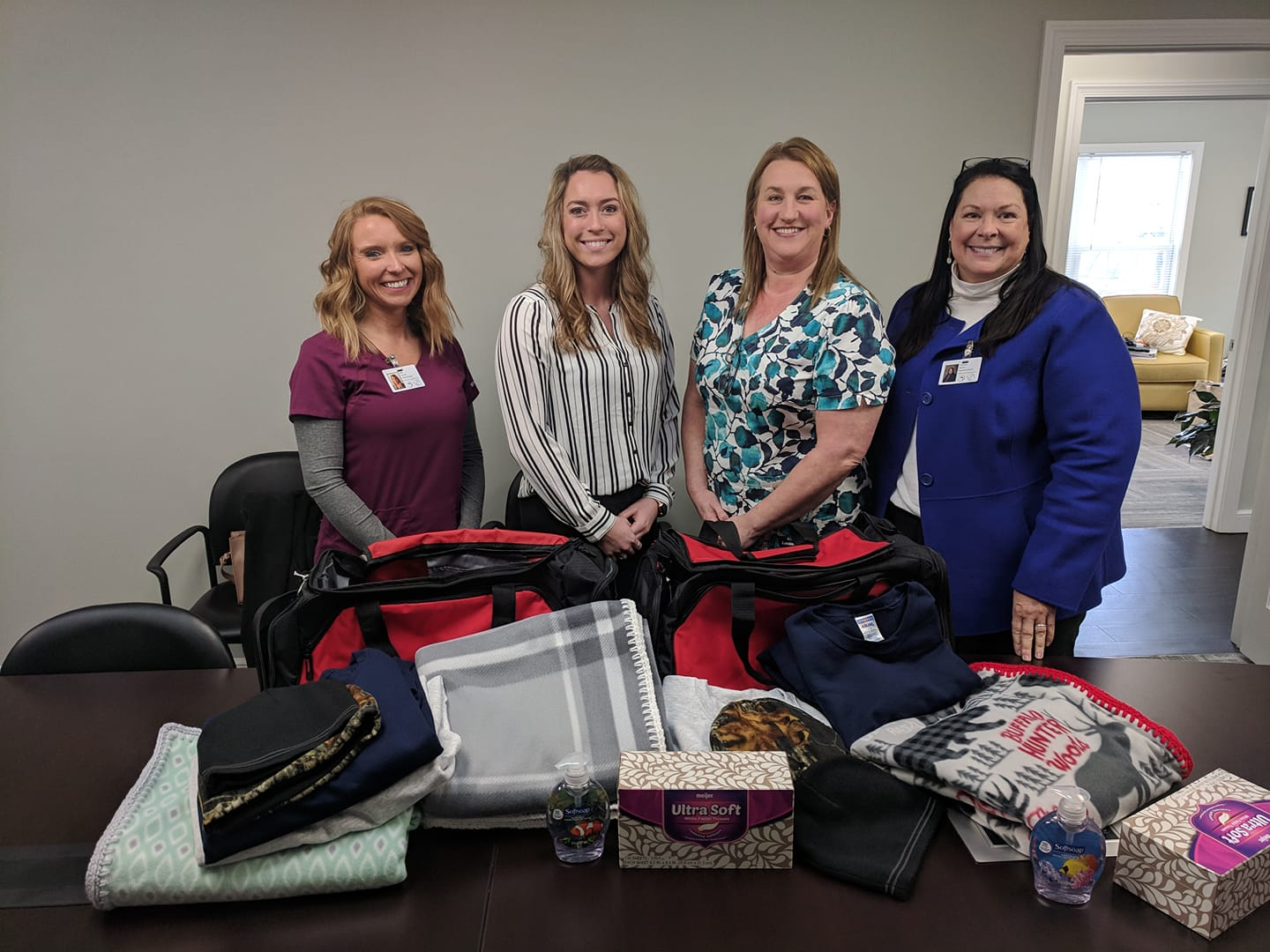 From left: Home Health Nurse Nikki Frey, Kimmel Representative Bo Underwood, Hospice Nurse and Elk member Christy Biller, and Hospice Co-ordinator Cathy Browne. These will be given to Hospice patients, veterans, and those family's in need!
