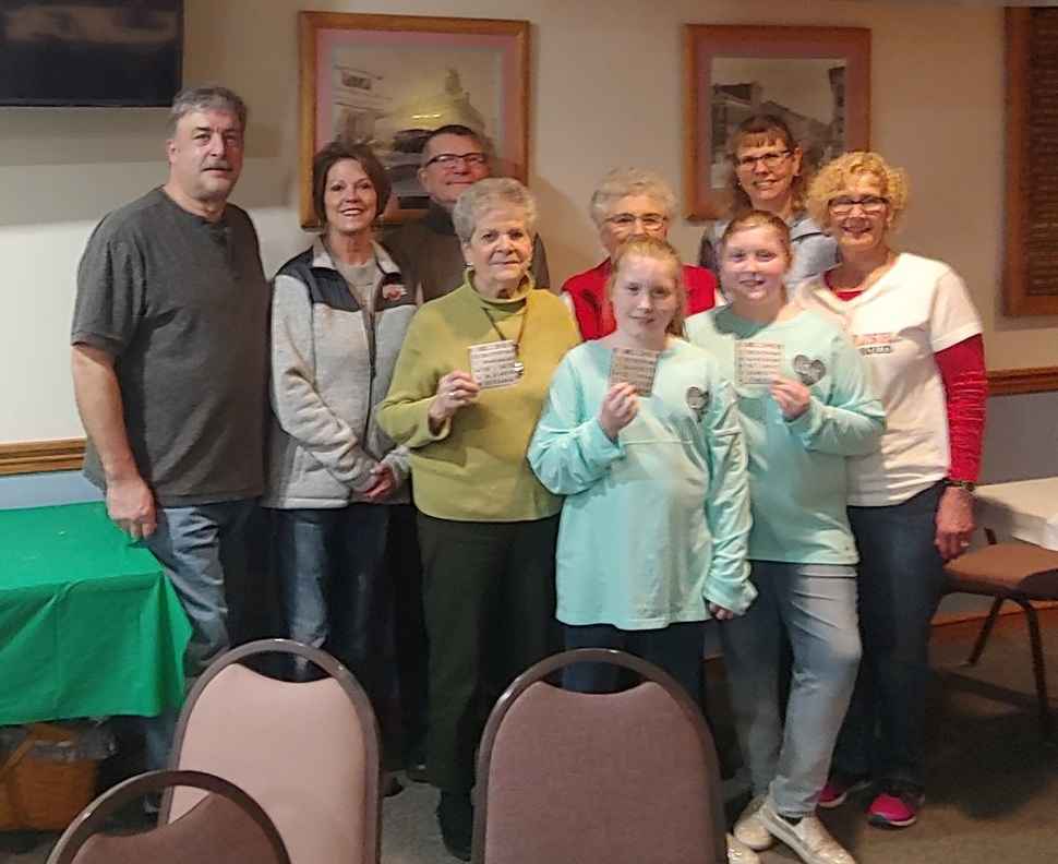 Pictured CP Players/winners and Cooks for the night:  Back row ER Mike Mowry, Barb Haeusser ,Dean Pfefferle, Mary Pfefferle, Jack Mowry, PER Mary Beaston.  Second row: Pat Mowry, Ashley and Stephanie Flahiff