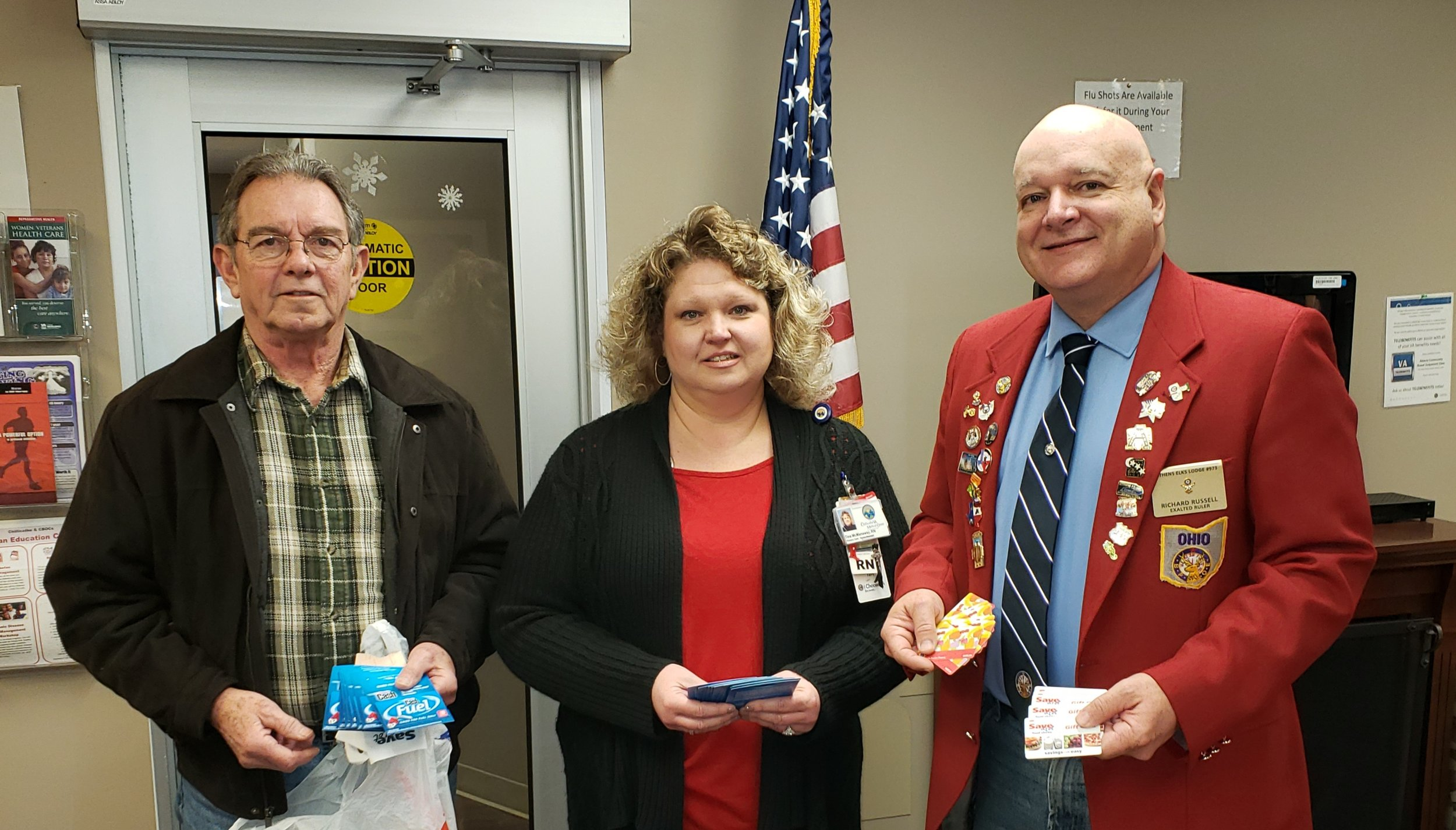Pictured from L to R are Tim Lairson Athens Elks 973, Tina McManauy Department of Veterans Affairs and Rich Russell Athens Elks 973 Exalted Ruler.