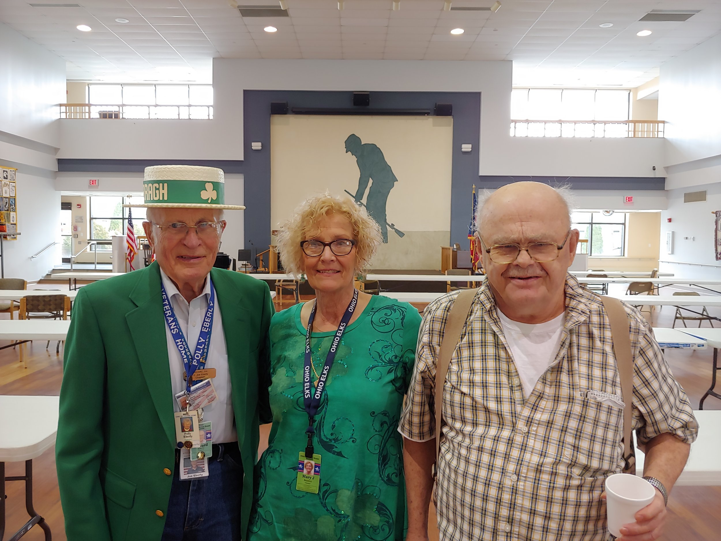 Here's a picture of PER Joe being recognized to the room filled of Veterans at the annual St Patty's Day Bingo party at the Ohio Veterans Home sponsored by the VAC/Ohio Elks.