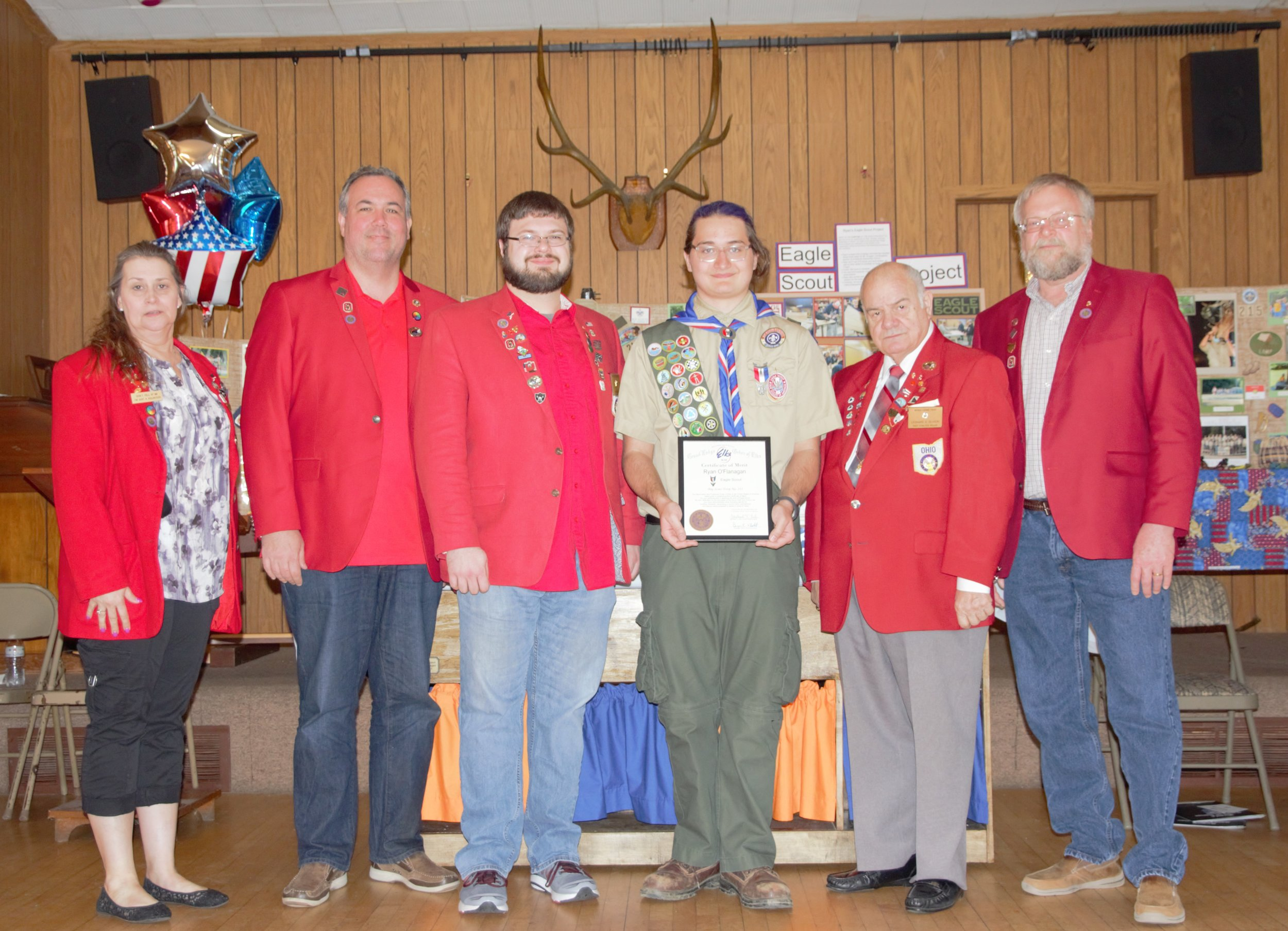 From left to right is Danielle Mahany, Treasurer; Richard Threadgill PER; Jeff Coyle, ER; Ryan O'Flanagan, Eagle Scout; Leonard Oliveri, Esquire; and John Masterson, Trustee.