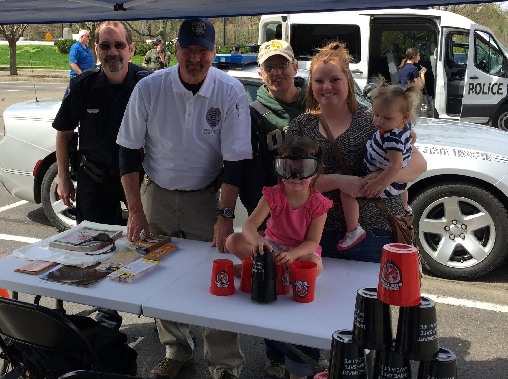 Pictured left to right: Athens Police Officer Bob Filar, Reserve Officer and SC District Elks Drug Awareness Chairman Dave Williams, Elks member Ty Smathers, girl with goggles on Maddison Prather, mother Abbi Prather, holding child Makenna Prather.