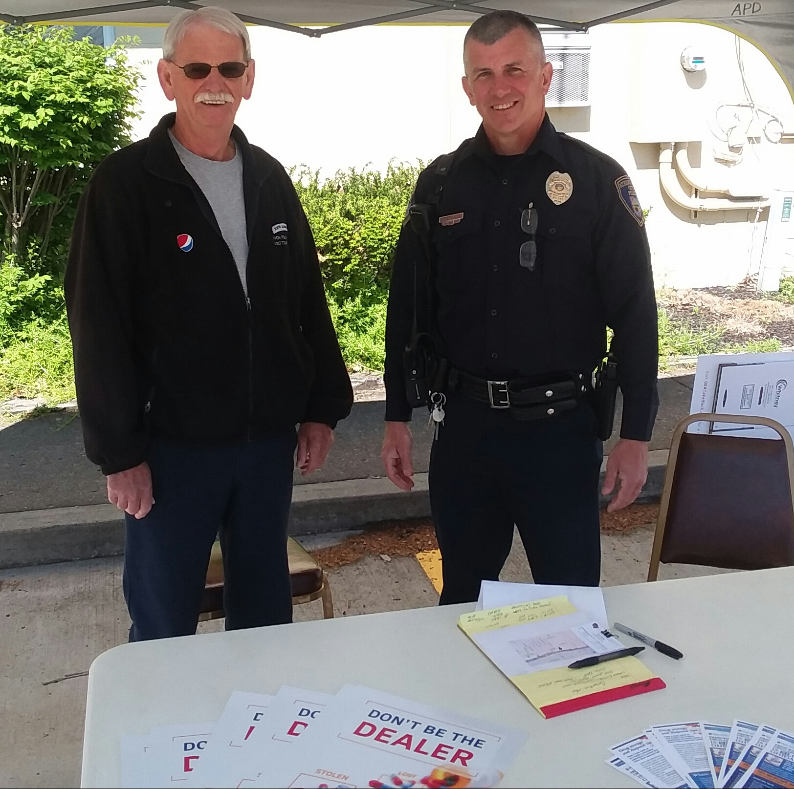 Pictured are Athens Elks Lodge #973 Secretary Randy Denny with Athens Police Officer Rick Olexa at the drug take back event.