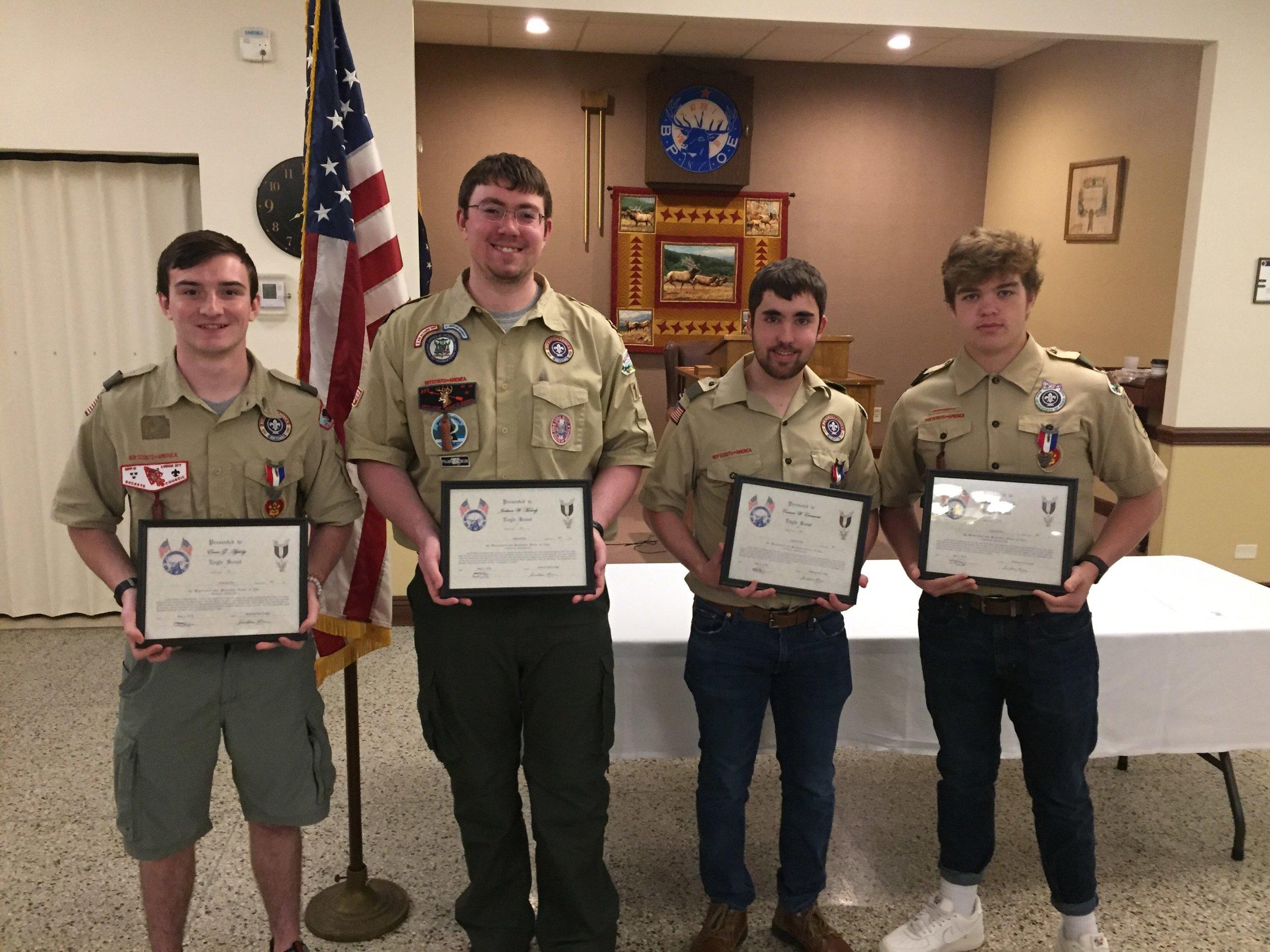 Eagle Scouts--Evan Appleby, Jackson Molody, Connor Ecrement, Brady Mohr