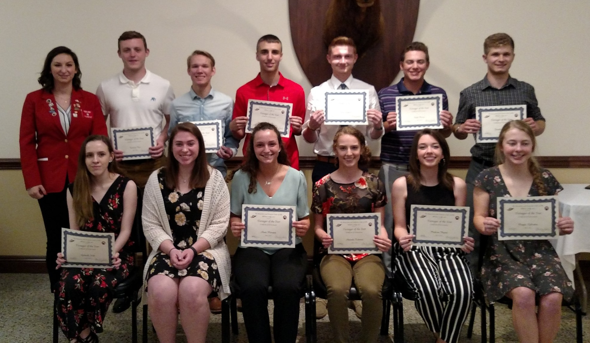 Teenagers of the Year from: Alliance, Marlington, West Branch, Sebring, St. Thomas, Louisville, and Minerva with Cassie Gabelt, Exalted Ruler