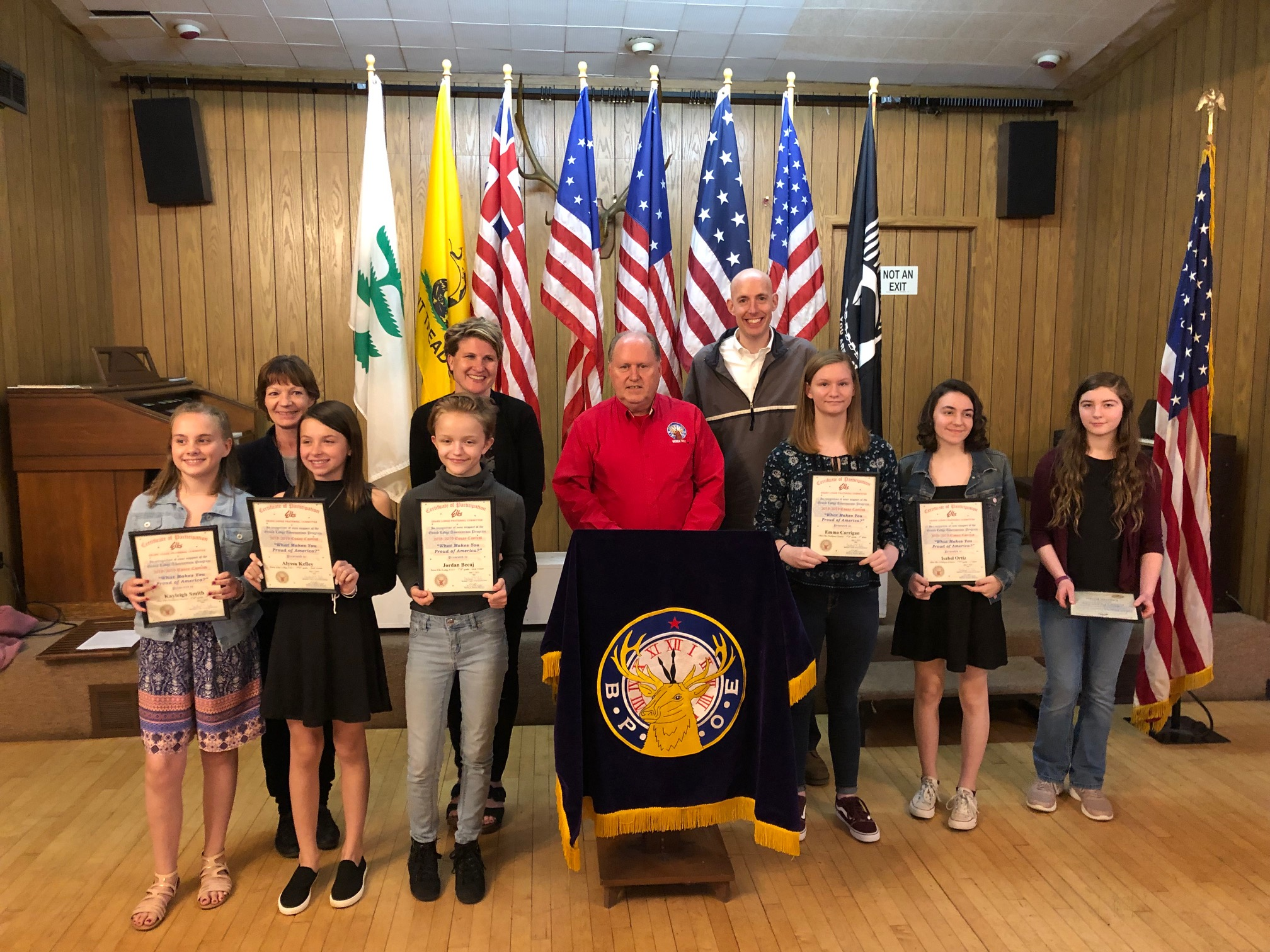 Americanism Essay contest winners and their teachers with Americanism Chair, Bill Maloney.